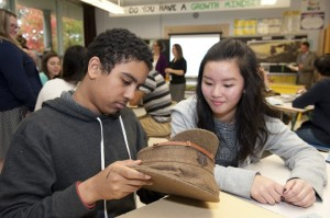Brookfield High School students take a close look at a soldier's cap. CWM2014-0057-0002-Dm