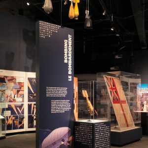 Panels and artifacts about bombing from the exhibition