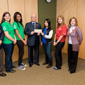 Students from Laval Liberty High School and Laval Junior High School with Dr. Paul Kavanagh
