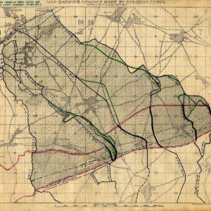 Map showing advance made by Canadian Corps at Vimy Ridge
