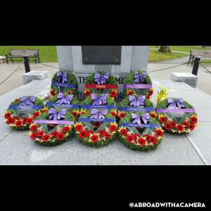 Wreaths laid at a monument
