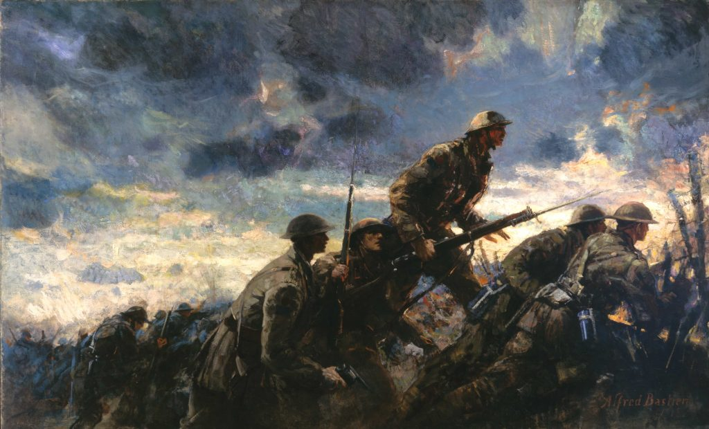 A group of soldiers climbing out of a trench to launch an attack