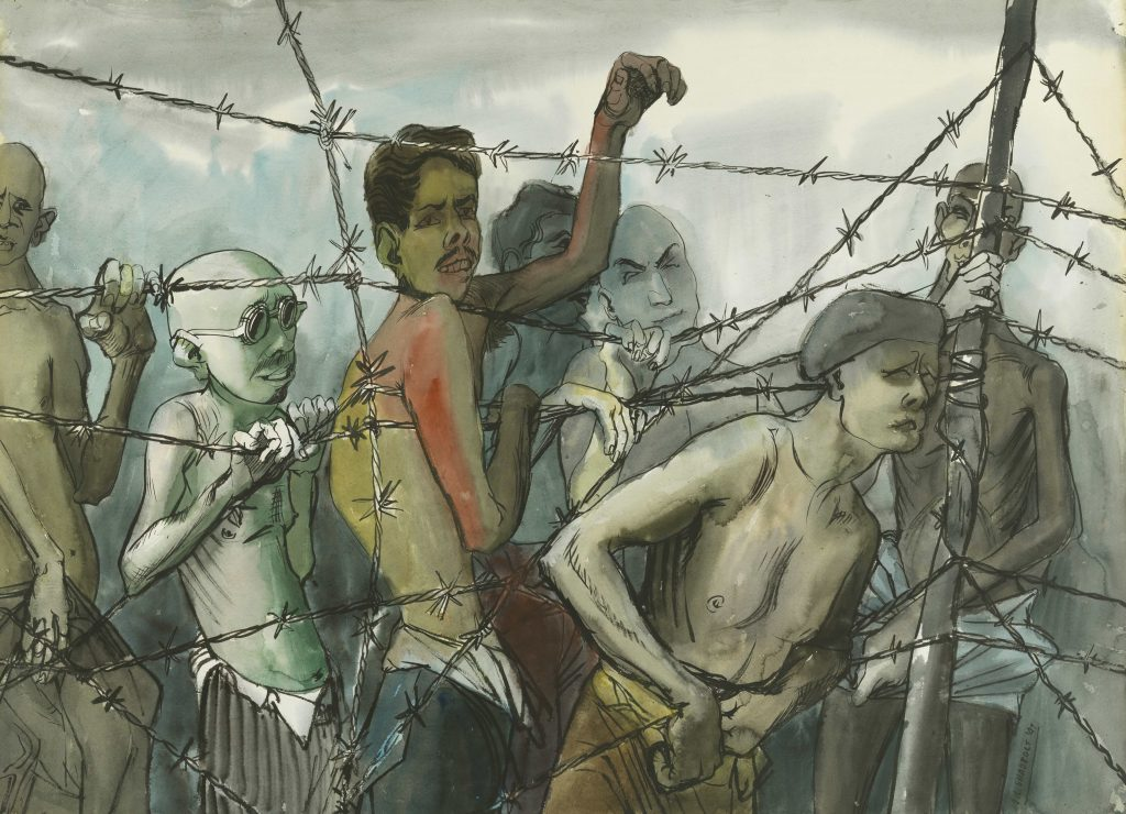 A group of emaciated shirtless men stand behind a barbed wire fence. Some of the men reach through the wire.