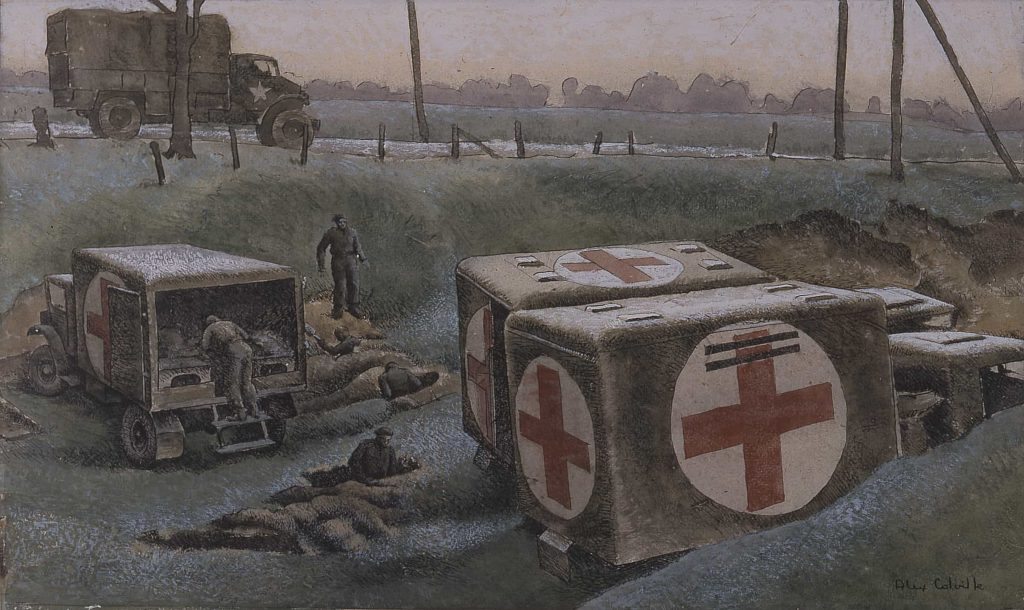 Three parked ambulances, marked with red crosses, and military personnel digging chest-deep trenches.