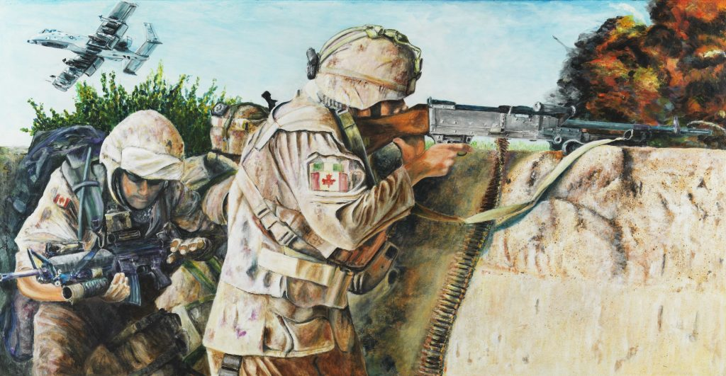 Three Canadian soldiers engage in combat, with an explosion in the background and a military aircraft flying overhead.