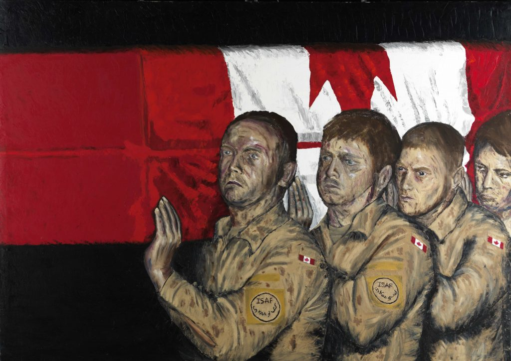 Four uniformed men carry a casket draped with the Canadian flag