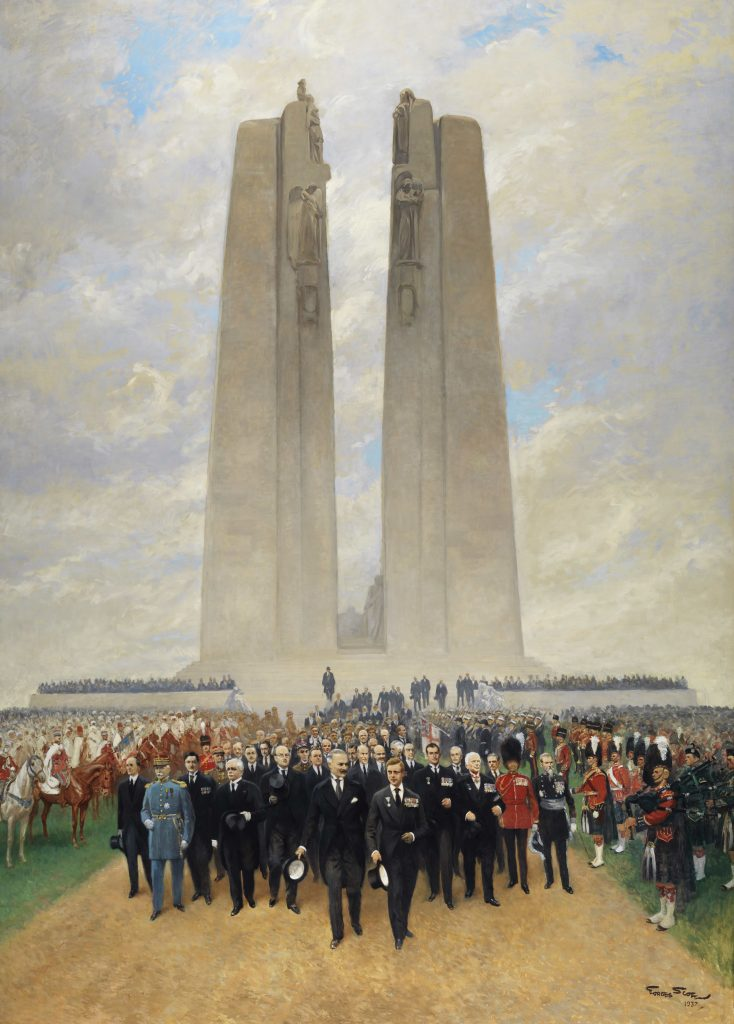 A group of men lead a procession away from the Vimy Memorial. They are dressed in their finest clothes, a mix of civilian suits and ceremonial military uniforms.