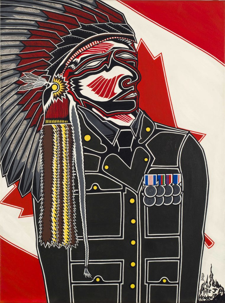 An Indigenous man wearing a traditional war bonnet and military uniform stands in front of a partially obscured Canadian flag