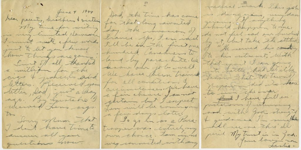 A handwritten three-page letter