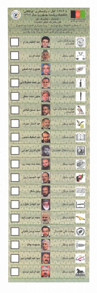 An election ballot with candidates' headshots and symbols