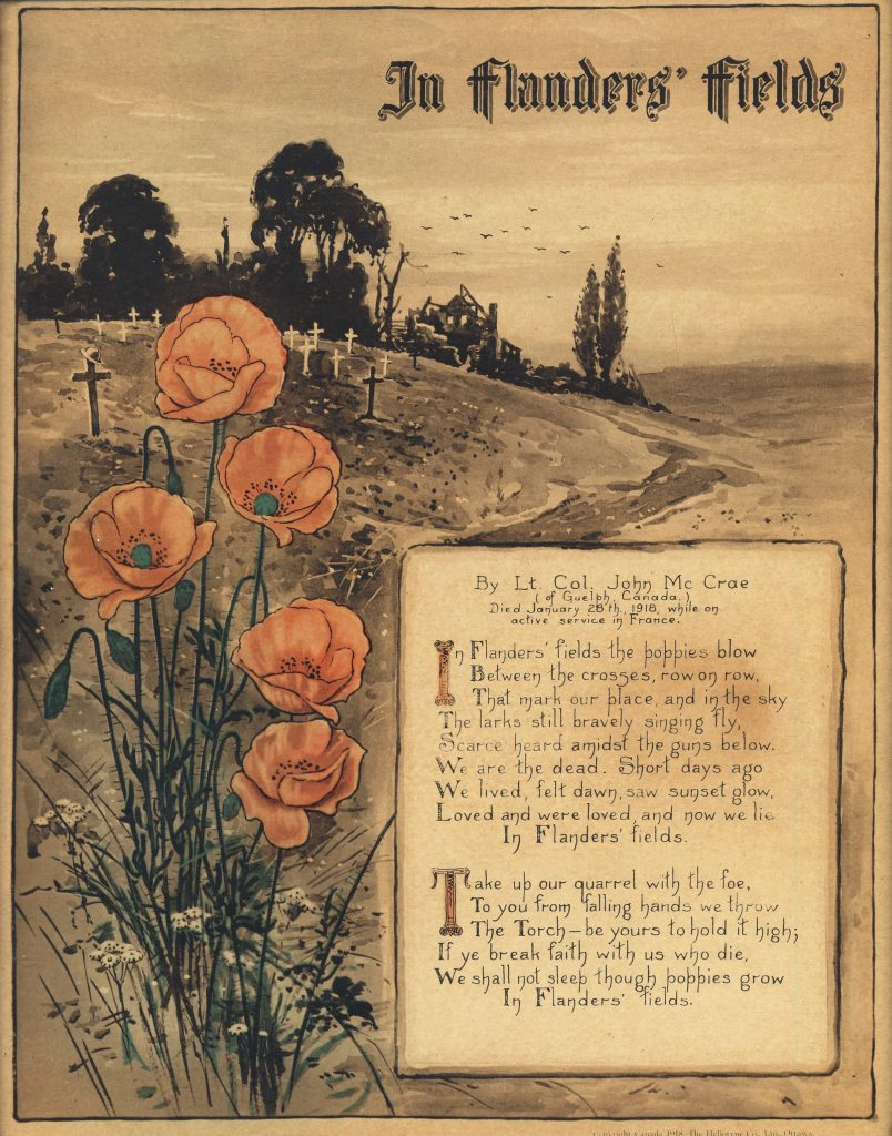 A country landscape with a bunch of poppies in the foreground, beside a handwritten poem